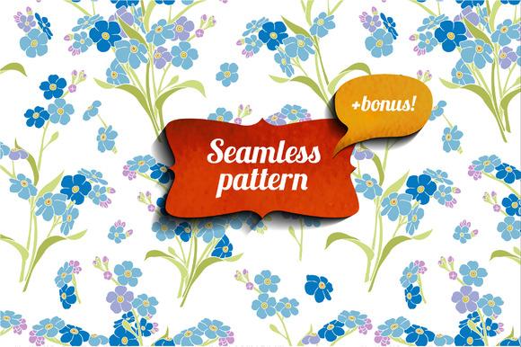 Forget-me-not Seamless Pattern Bonus
