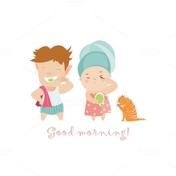 Boy And Girl Doing Morning Routine