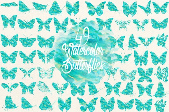 Blue Green Watercolor Butterflies