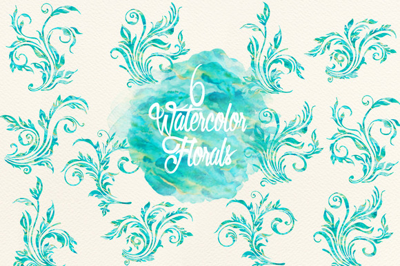 Blue Green Watercolor Florals