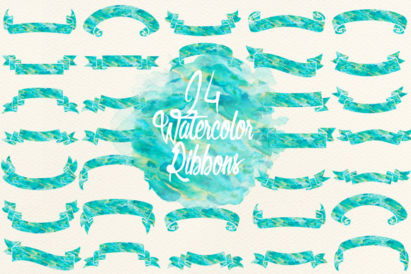 Blue Green Watercolor Ribbons