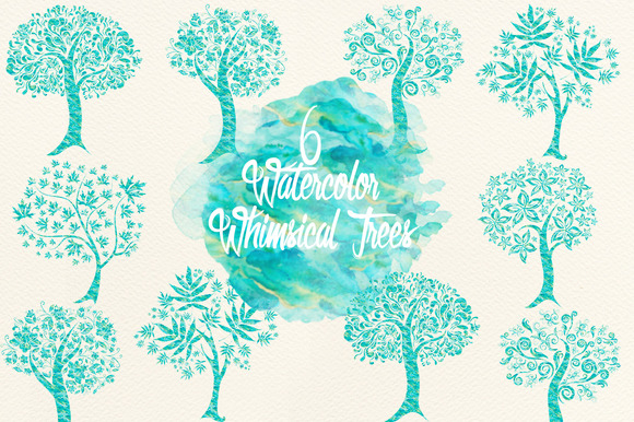Watercolor Blue Green Whimsical Tree