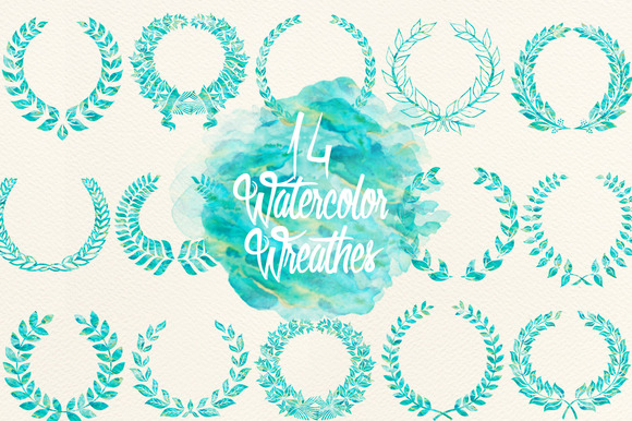 Blue Green Watercolor Wreathes