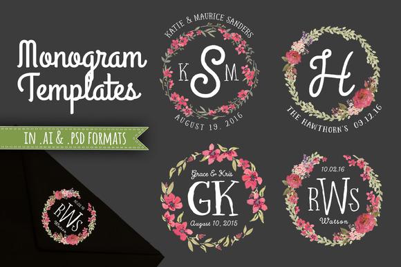 4 Floral Monogram Templates AI PSD