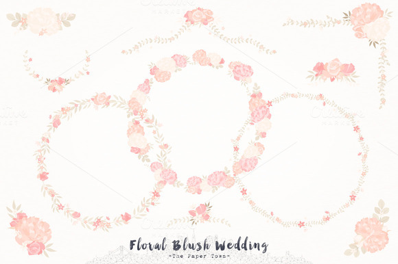Blush Floral Wedding Cliparts