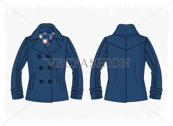 Woman Pea Coat Vector Illustration