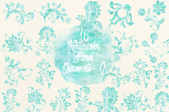 Watercolor Blue Floral Ornaments 2