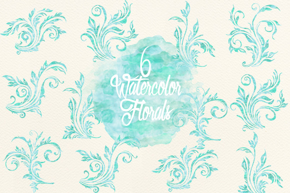 Blue Watercolor Florals