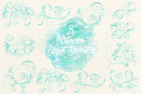 Blue Watercolor Elegant Decoration