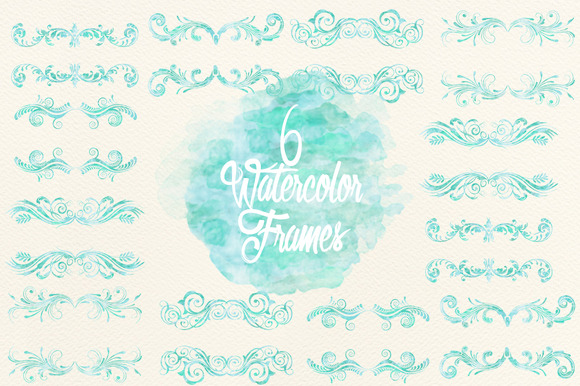 Watercolor Blue Frames