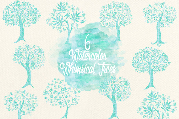 Blue Watercolor Whimsical Trees