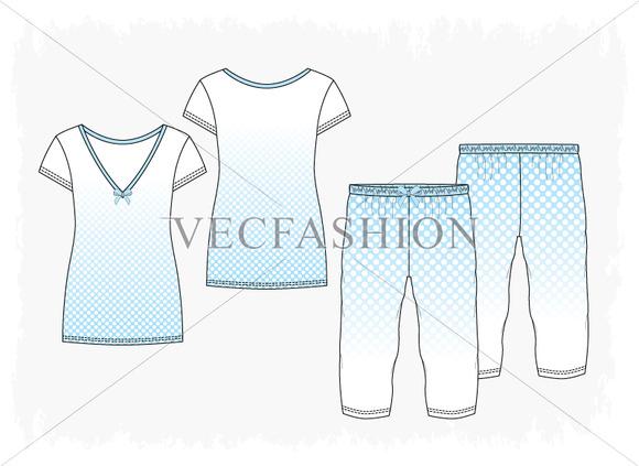 Woman V-neck Pyjama Set