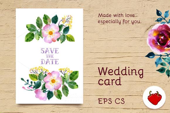 Wedding Watercolor Postcard