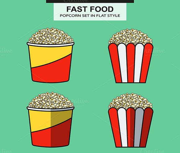 Popcorn Set In Flat Style