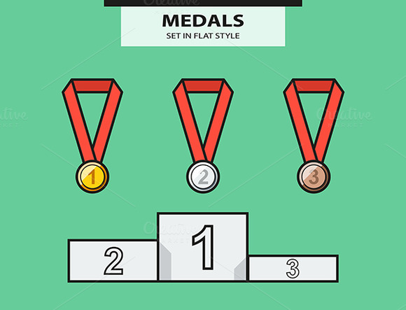Set From Medals And A Sports Pedesta
