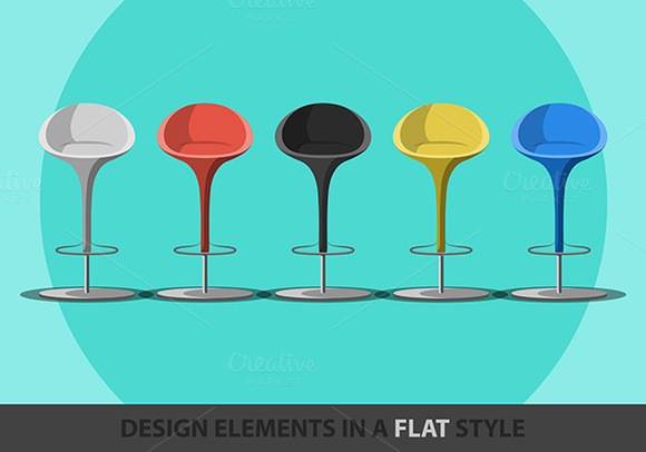 Set Of Colored Stools In A Flat Styl