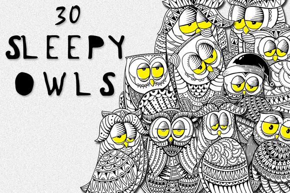 30 Sleepy Owls