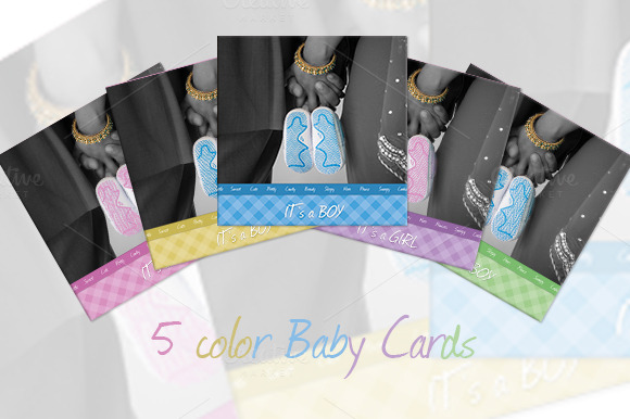 5 Color Baby Cards