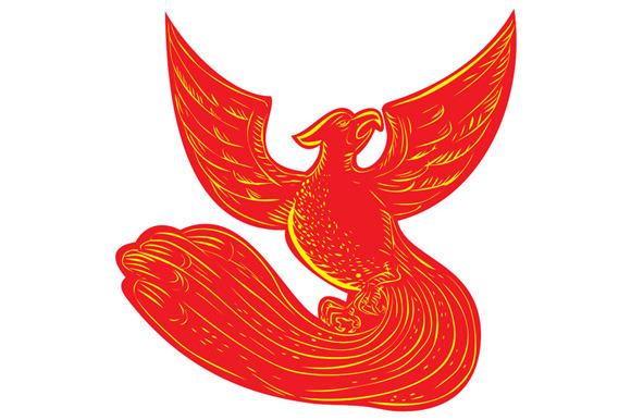Phoenix Rising Etching