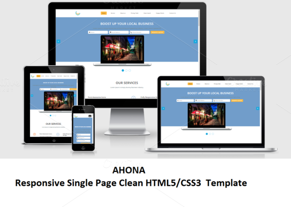 Ahona Responsive Single Page HTML