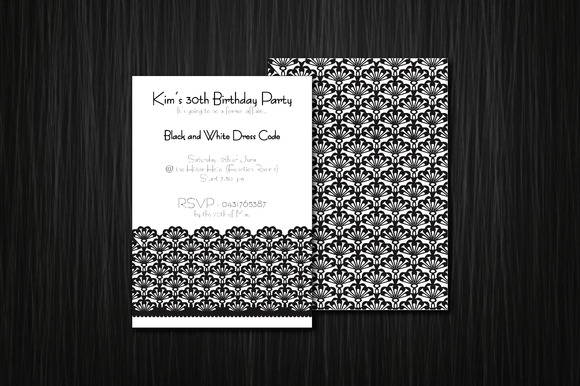 Monochrome Lace 5x7in Invitation