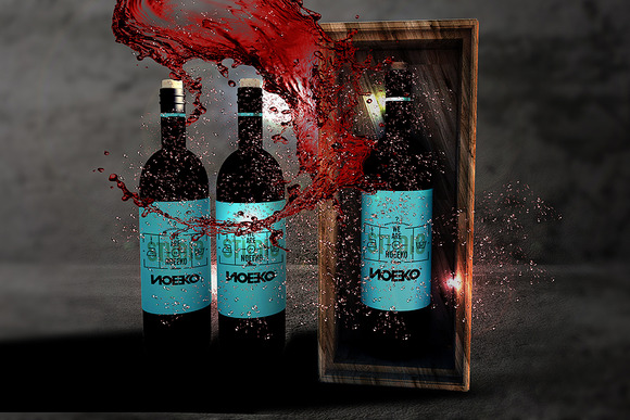 Wine Box Package Bottle Mockup