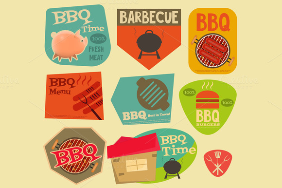 Retro BBQ Stickers Collection