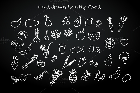 Hand Drawn Healthy Food