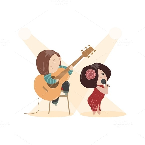 Cute Woman Singing With Guitarist