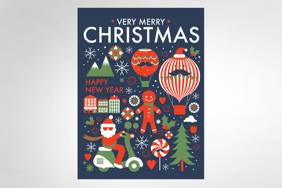 Christmas Greeting Template Vector