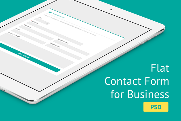 Flat Contact Form For Business PSD