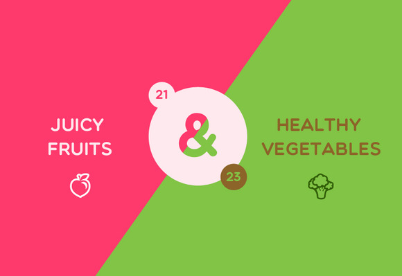Juicy Fruits Vegetables Icons