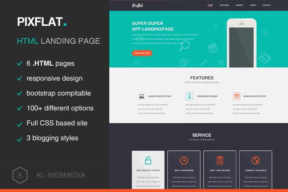 Pixflat HTML Landing Template