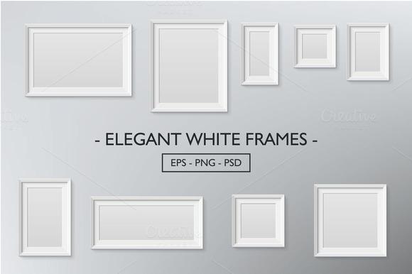 Elegant White Frames Vector Raster