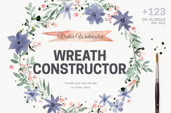 Watercolor Vector Wreath Constructor