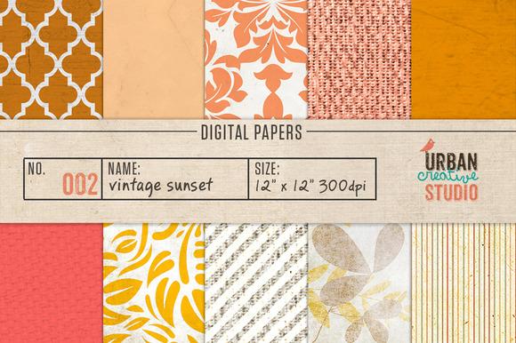 Vintage Sunset Digital Papers