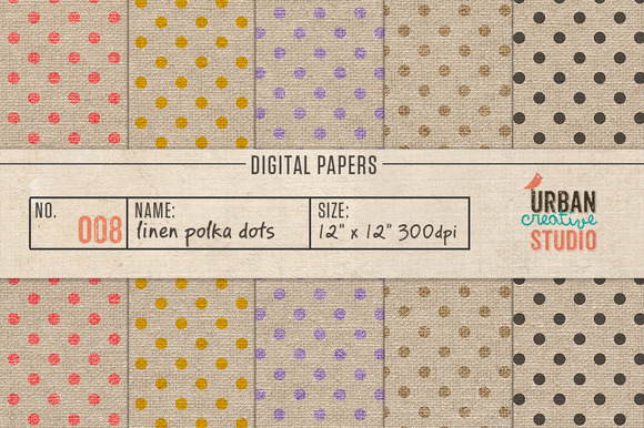 Linen Polka Dots Papers