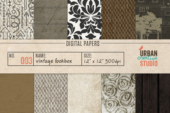 Vintage Lockbox Digital Papers