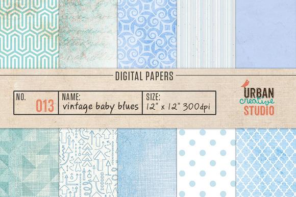 Vintage Baby Blues Digital Papers