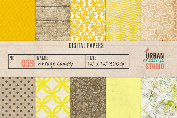 Vintage Canary Scrpabook Papers