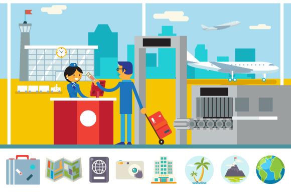 Businessman And Stewardess Airport