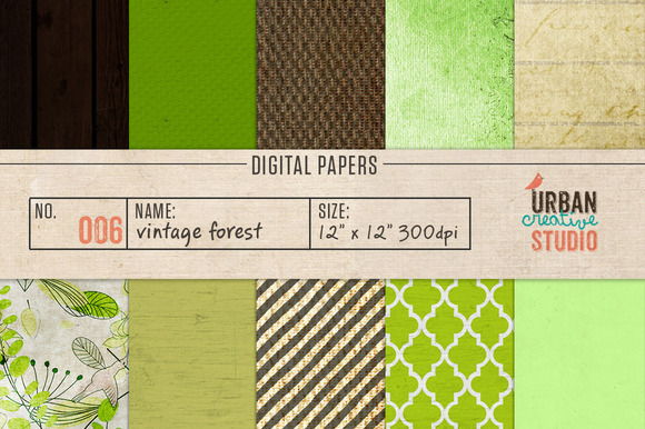Vintage Forest Digital Backgrounds