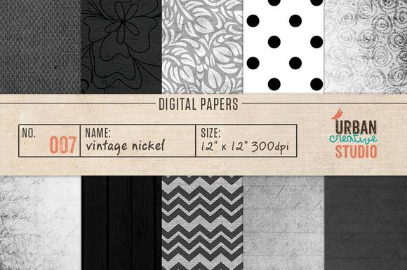 Vintage Nickel Digital Papers