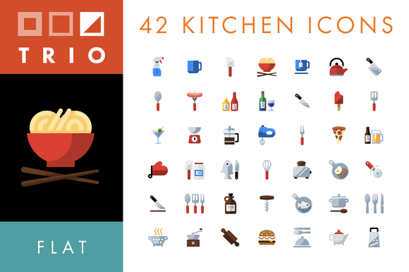 42 Kitchen Food Icons Flat