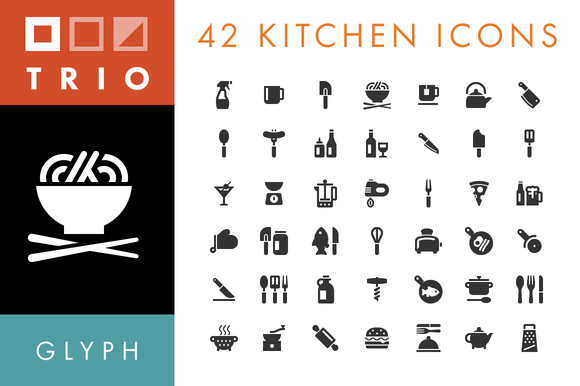 42 Kitchen Food Icons Glyph