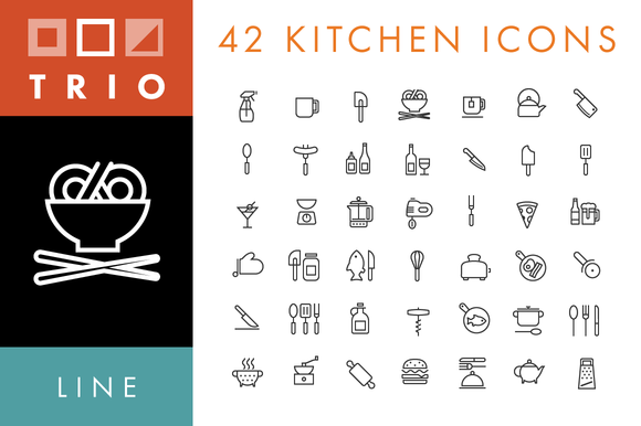 42 Kitchen Food Icons Line