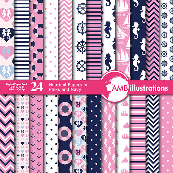 Nautical Papers In Pink And Blue 116