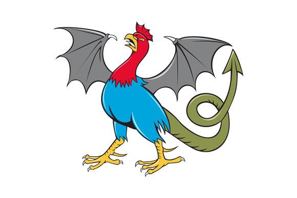 Basilisk Bat Wing Crowing Cartoon