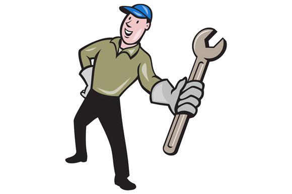 Mechanic Presenting Wrench Cartoon
