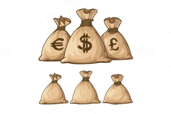 Cartoon Full Sacks With Money
